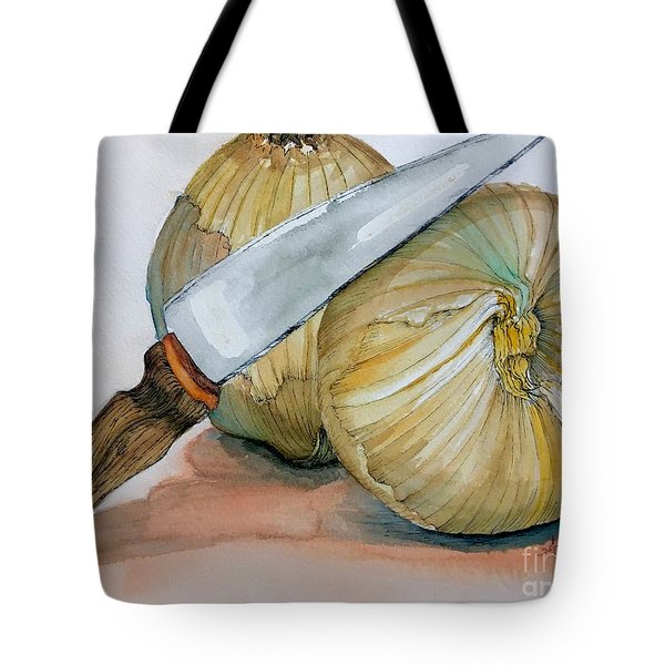 Cutting Onions Tote Bag