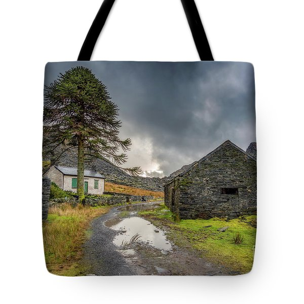 Tote Bag featuring the photograph Cwmorthin Slate Ruins by Adrian Evans