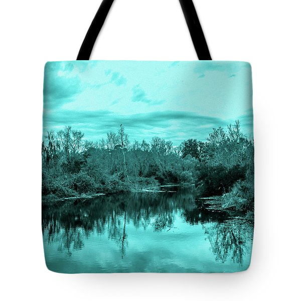 Tote Bag featuring the photograph Cyan Dreaming - Sarasota Pond by Madeline Ellis