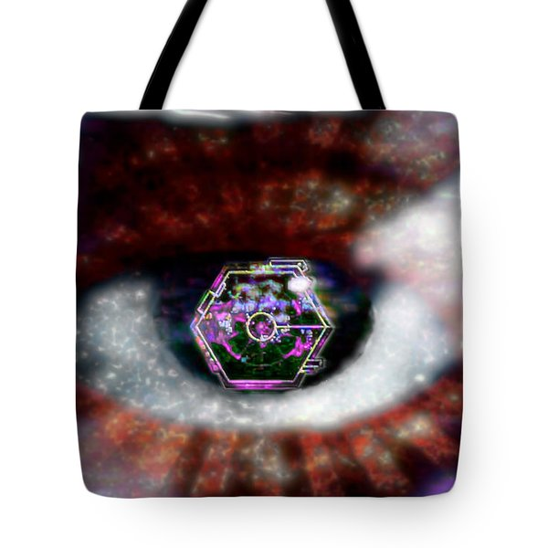 Tote Bag featuring the digital art Cyber Oculus Cumulus by Iowan Stone-Flowers