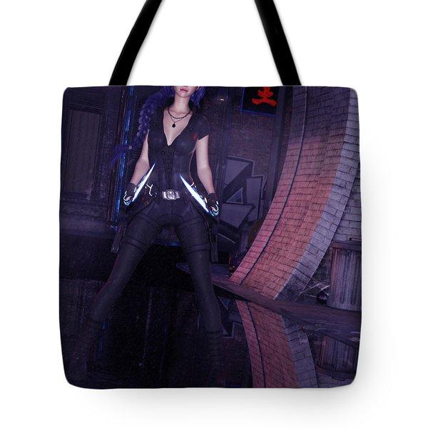 Cyberpunk Assassin Tote Bag