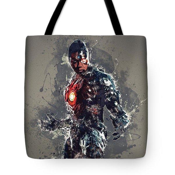 Cyborg Tote Bag by Elena Kosvincheva