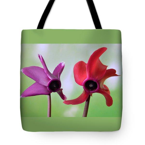 Cyclamen Duet. Tote Bag by Terence Davis