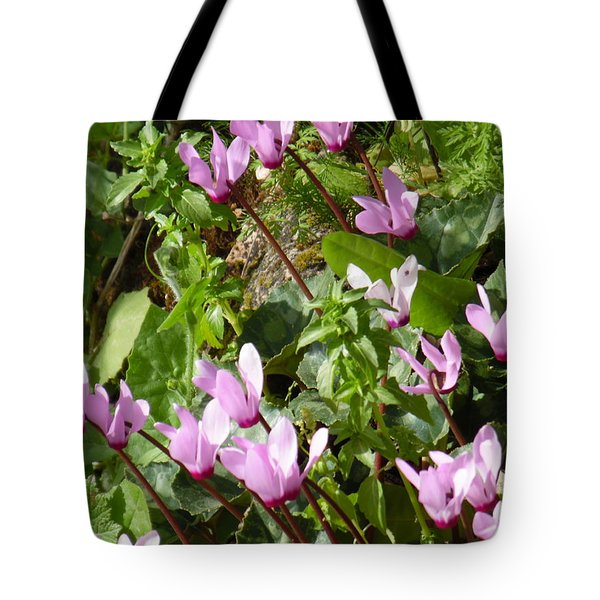 Cyclamen In Spring Tote Bag by Esther Newman-Cohen