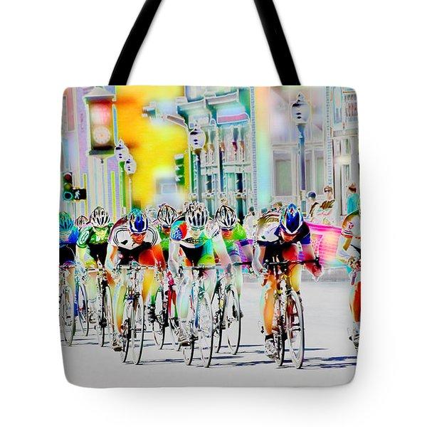 Cycling Down Main Street Usa Tote Bag by Vicki Pelham
