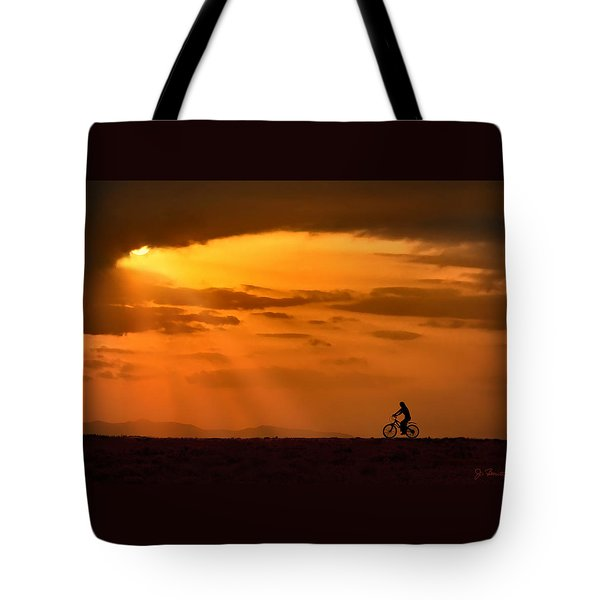 Cycling Into Sunrays Tote Bag by Joe Bonita