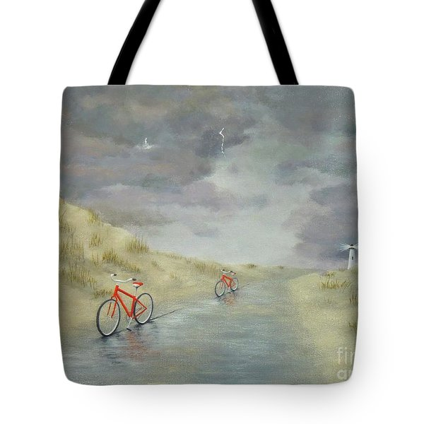 Cycling On Ocracoke Island Tote Bag
