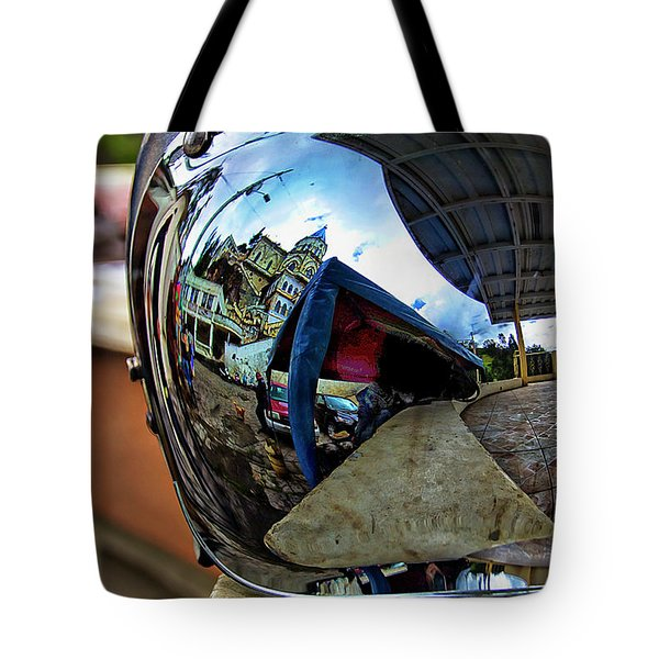 Tote Bag featuring the photograph Cyclist's View Of Biblian Church by Al Bourassa