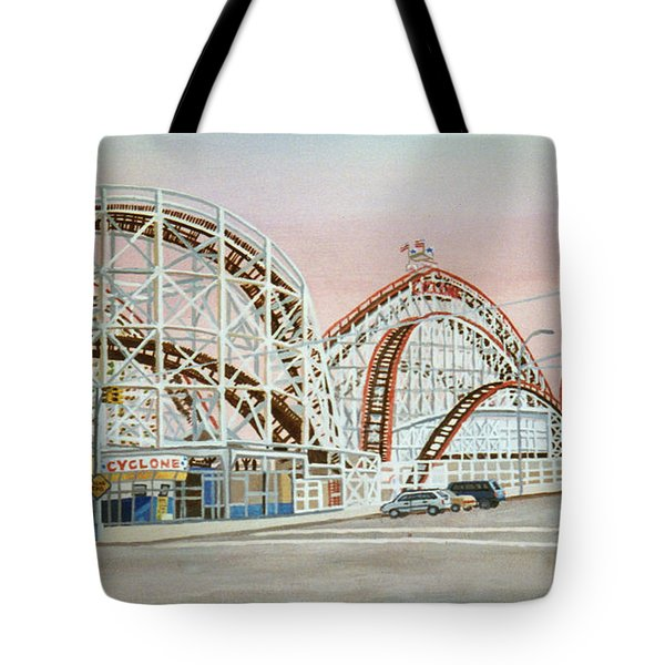 Cyclone Rollercoaster In Coney Island New York Tote Bag