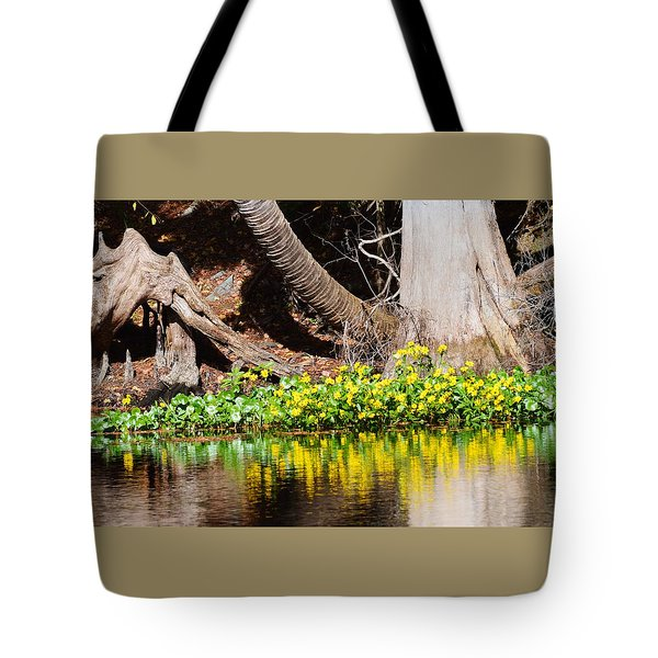 Cypress And Flower Reflections Tote Bag
