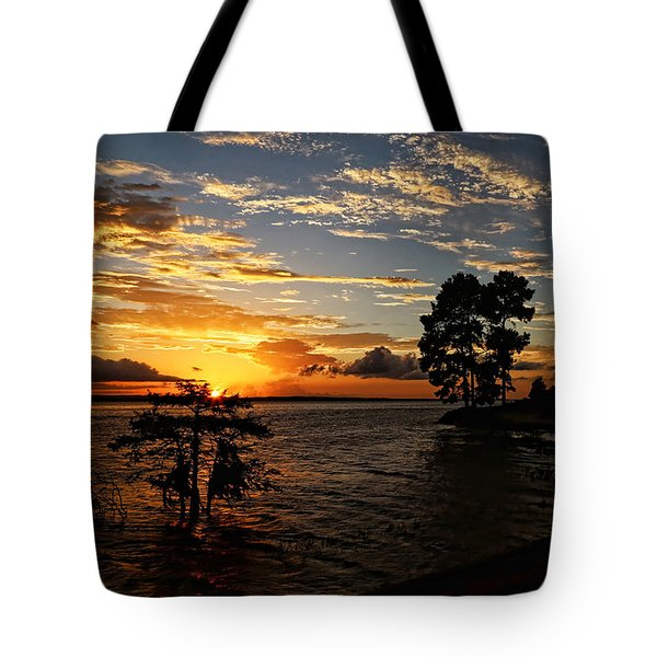 Cypress Bend Resort Sunset Tote Bag by Judy Vincent