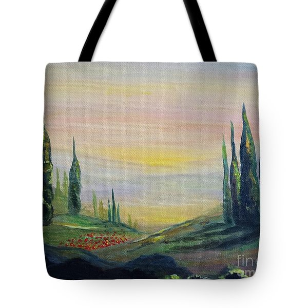 Cypress Dawn Landscape Tote Bag