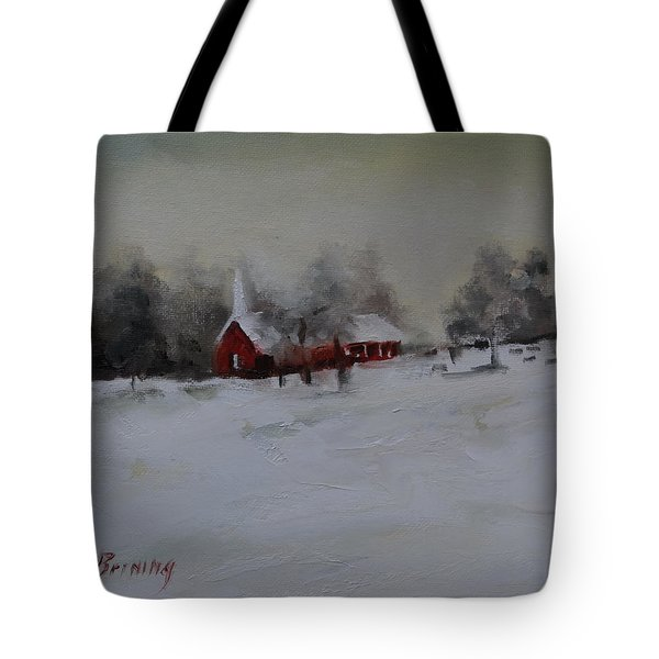 Cypress In The Snow Tote Bag