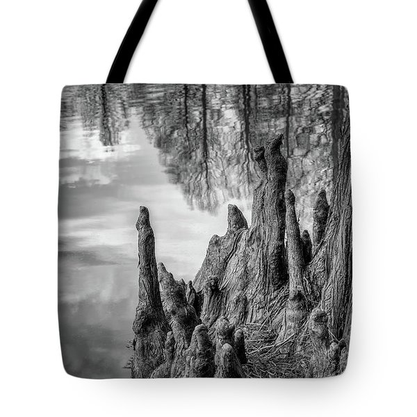 Tote Bag featuring the photograph Cypress Knees In Bw by James Barber