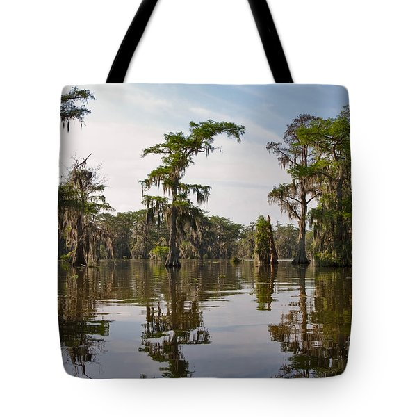Cypress Trees And Spanish Moss In Lake Martin Tote Bag by Louise Heusinkveld