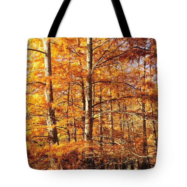 Cypress Trees In The Lake Murray Tote Bag