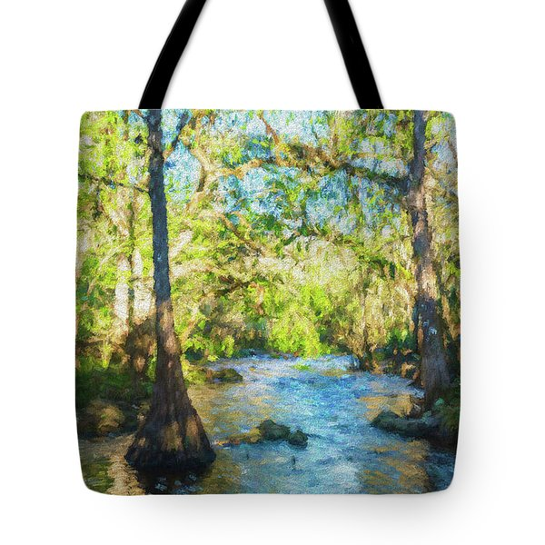 Cypress Trees On The River Tote Bag