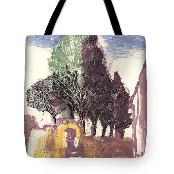 Tote Bag featuring the painting Cypresses Bonnieux by Martin Stankewitz