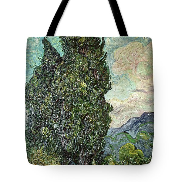 Cypresses Tote Bag by Vincent Van Gogh