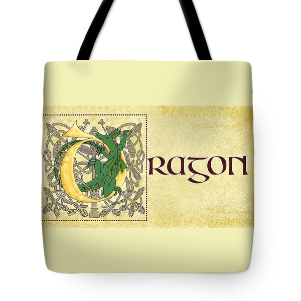 D Is For Dragon Page Gold Tote Bag by Donna Huntriss