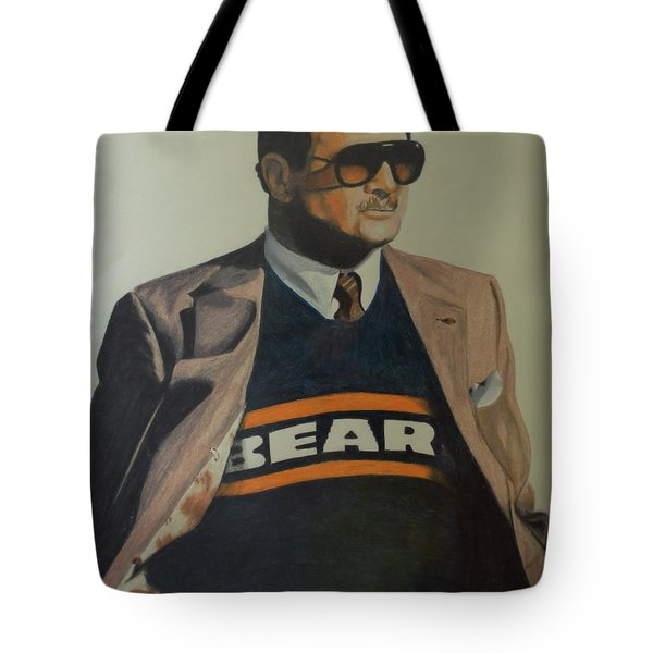Tote Bag featuring the drawing Da Coach Ditka by Melissa Goodrich