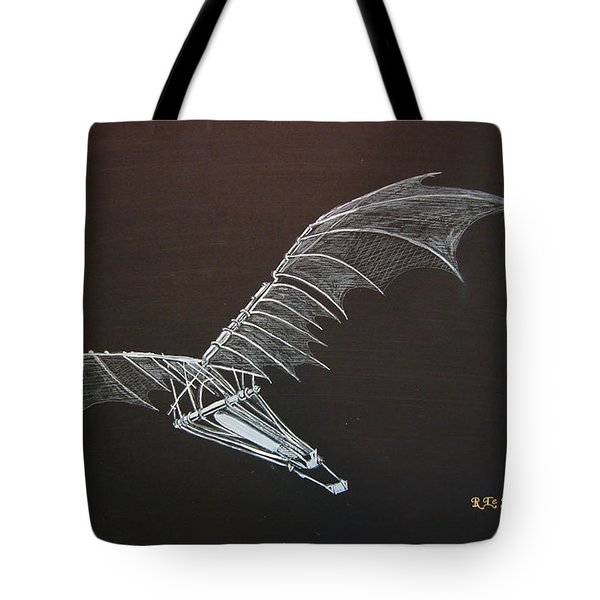 Tote Bag featuring the painting Da Vinci Flying Machine by Richard Le Page