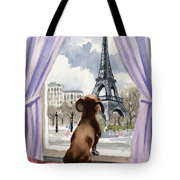 Dachshund In Paris Tote Bag