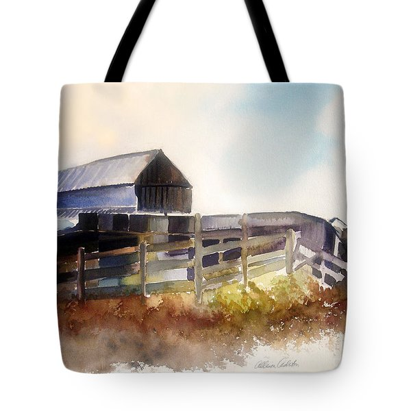 Tote Bag featuring the painting Dad' Farmhouse by Allison Ashton