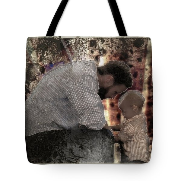 Tote Bag featuring the photograph Daddys Hands by Kate Word