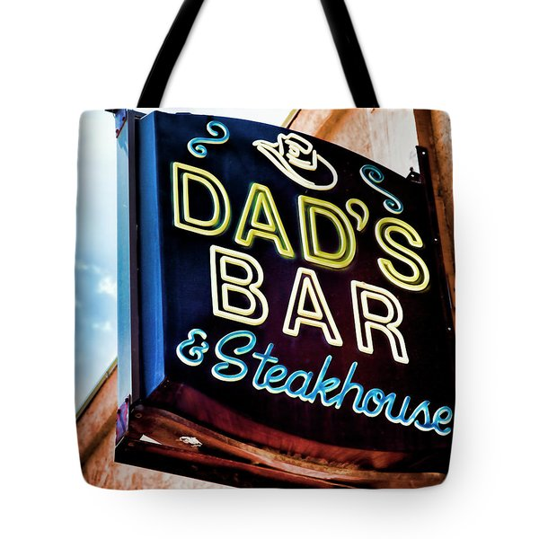 Dad's Bar And Steakhouse Vintage Neon Sign Tote Bag