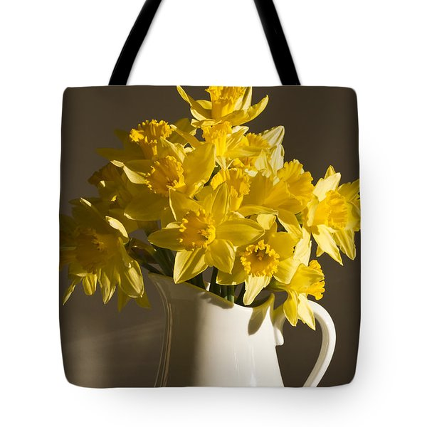 Daffodil Filled Jug Tote Bag by Sandra Foster