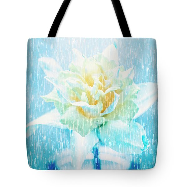 Daffodil Flower In Rain. Digital Art Tote Bag