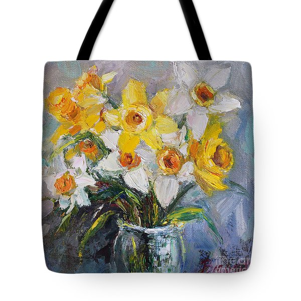 Tote Bag featuring the painting Daffodil In Spring  by Jennifer Beaudet
