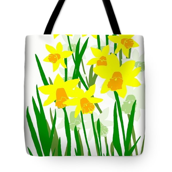Tote Bag featuring the digital art Daffodils Drawing by Barbara Moignard