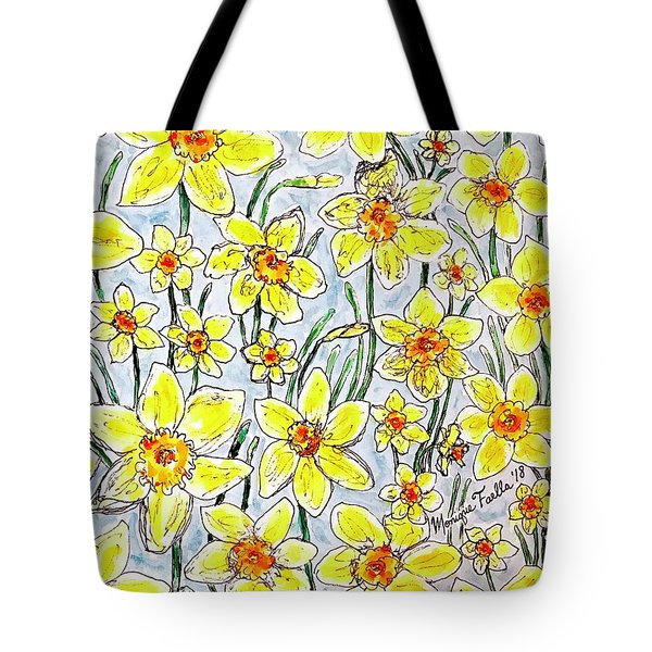Tote Bag featuring the painting Daffodils by Monique Faella