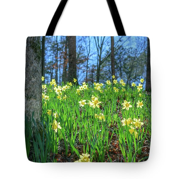 Tote Bag featuring the photograph Daffodils On Hillside 2 by Keith Smith