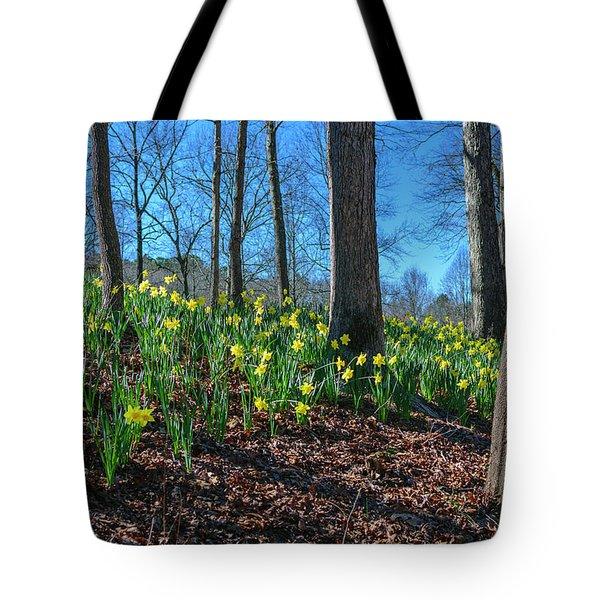 Daffodils On Hillside Tote Bag