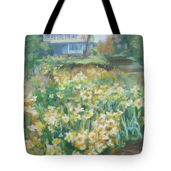 Daffodils On The Corner Tote Bag by Carol Strickland
