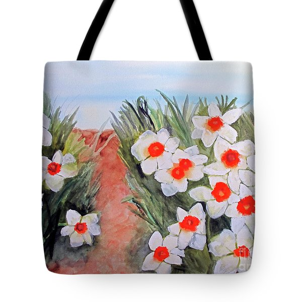 Tote Bag featuring the painting Daffodils by Sandy McIntire