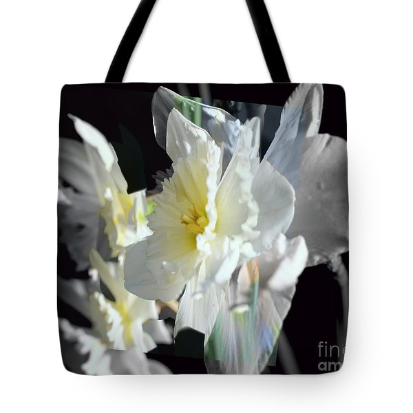 Daffodils Shades Of Grey Tote Bag