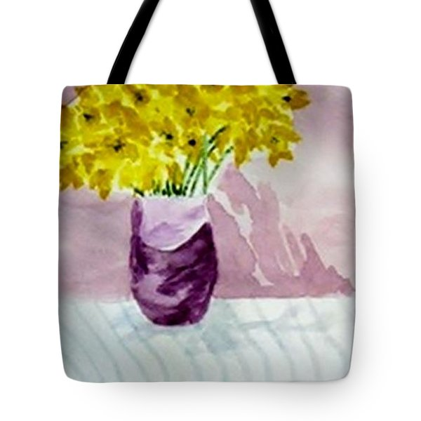 Tote Bag featuring the painting Daffs by Jamie Frier