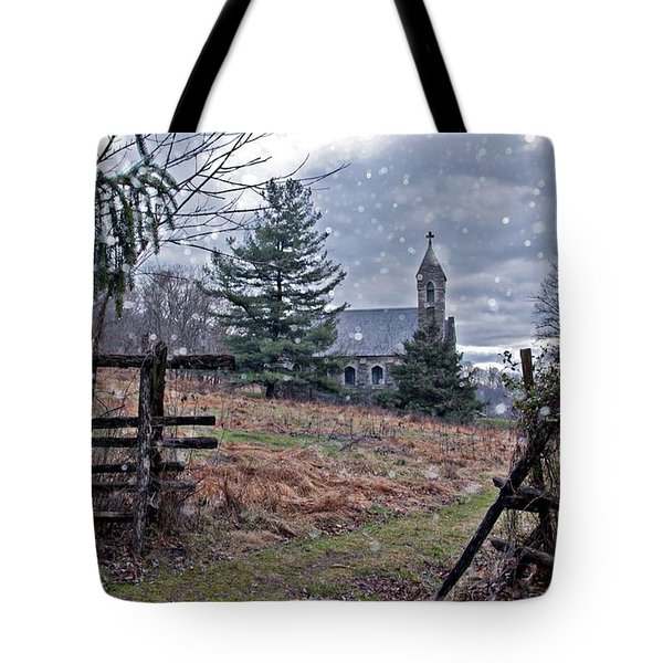 Dahlgren Chapel Winter Scene Tote Bag