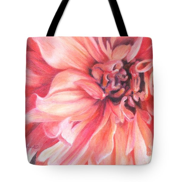 Tote Bag featuring the drawing Dahlia 1 by Phyllis Howard