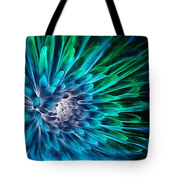 Dahlia Abstract Vibrance Tote Bag by Mary Lou Chmura