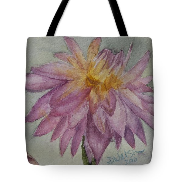 Tote Bag featuring the painting Dahlia At Eastport Me by Donna Walsh