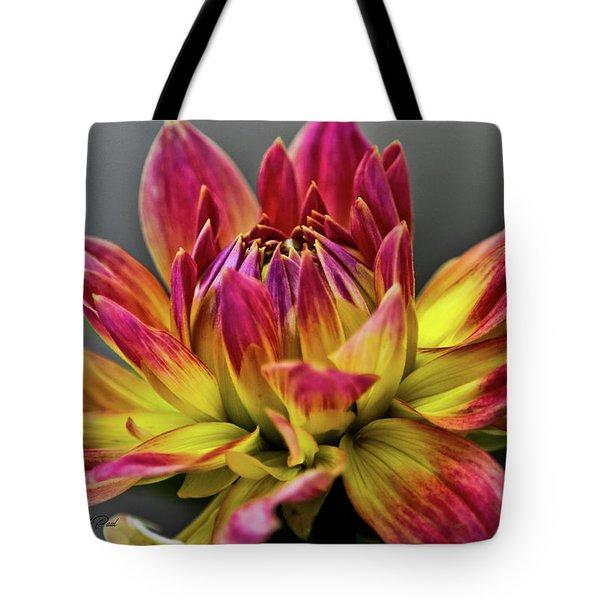 Dahlia Flame Tote Bag by Joann Copeland-Paul