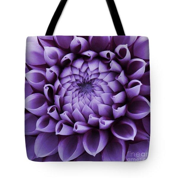 Dahlia Macro In Lavender Tote Bag