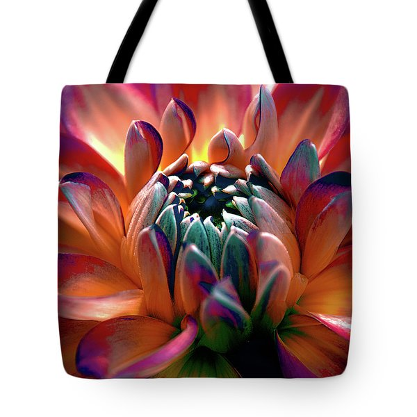 Tote Bag featuring the photograph Dahlia Multi Colored Squared by Julie Palencia