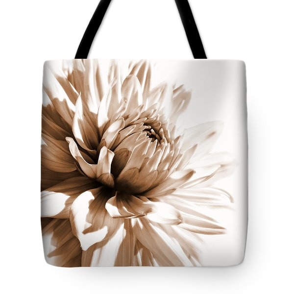 Dahlia Sepial Flower Tote Bag by Jennie Marie Schell