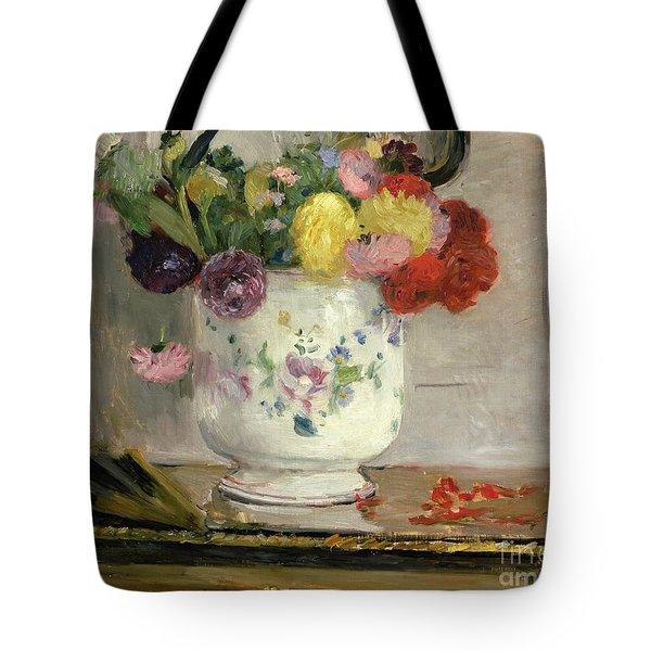 Dahlias Tote Bag by Berthe Morisot